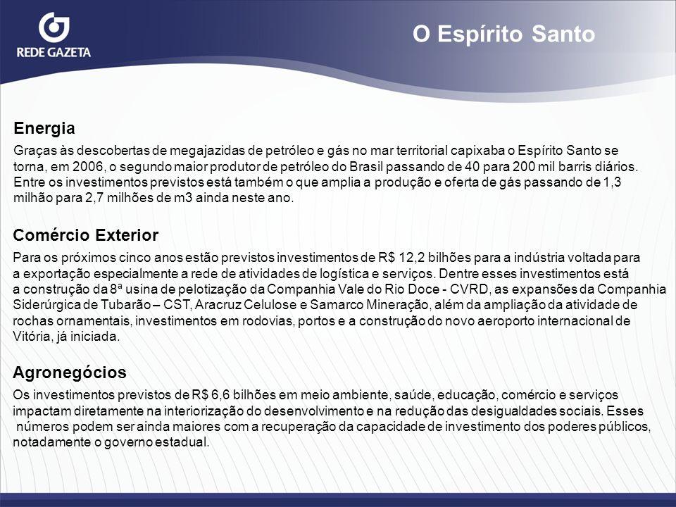 Energia Graças às descobertas de megajazidas de petróleo e gás no mar territorial capixaba o Espírito Santo se torna, em 2006, o segundo maior produto