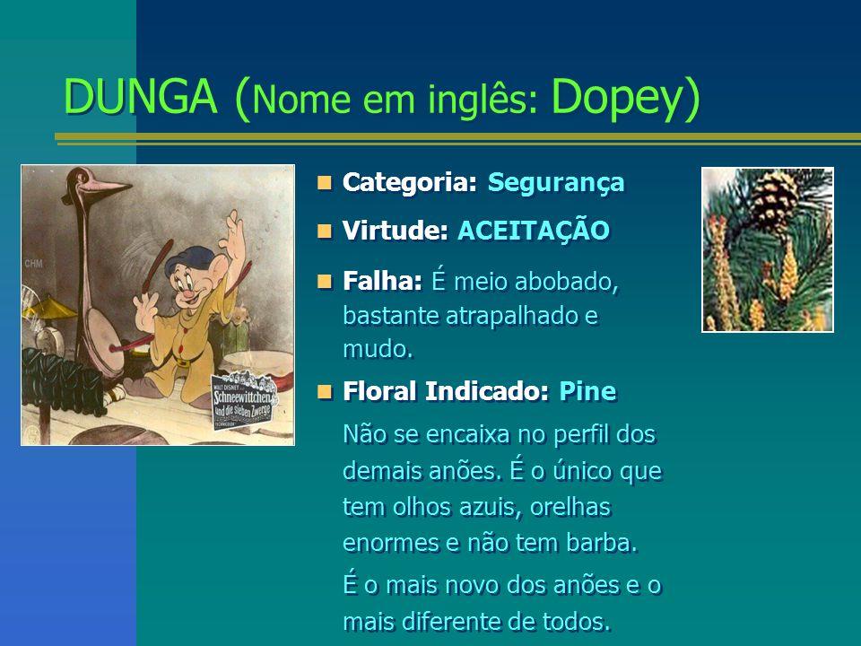 DUNGA ( Nome em inglês: Dopey) DUNGA ( Nome em inglês: Dopey) Categoria: Segurança Virtude: ACEITAÇÃO Falha: É meio abobado, bastante atrapalhado e mu