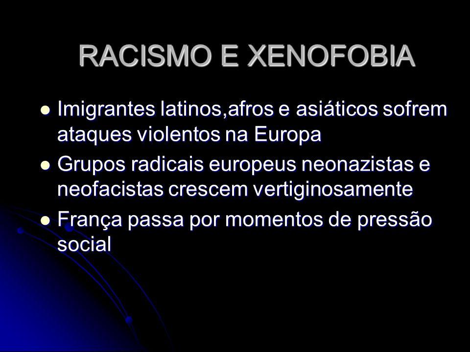 RACISMO E XENOFOBIA Imigrantes latinos,afros e asiáticos sofrem ataques violentos na Europa Imigrantes latinos,afros e asiáticos sofrem ataques violen