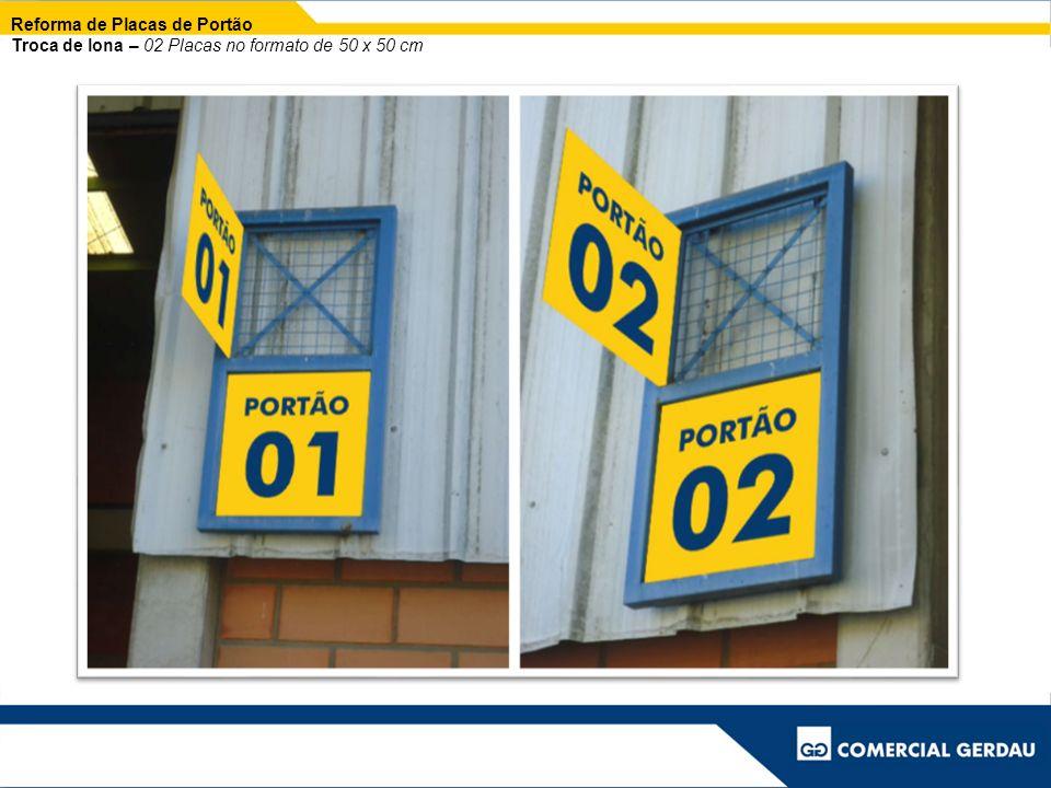 Reforma de Placas de Portão Troca de lona – 02 Placas no formato de 50 x 50 cm