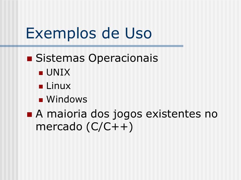 Exemplos de Uso Sistemas Operacionais UNIX Linux Windows A maioria dos jogos existentes no mercado (C/C++)
