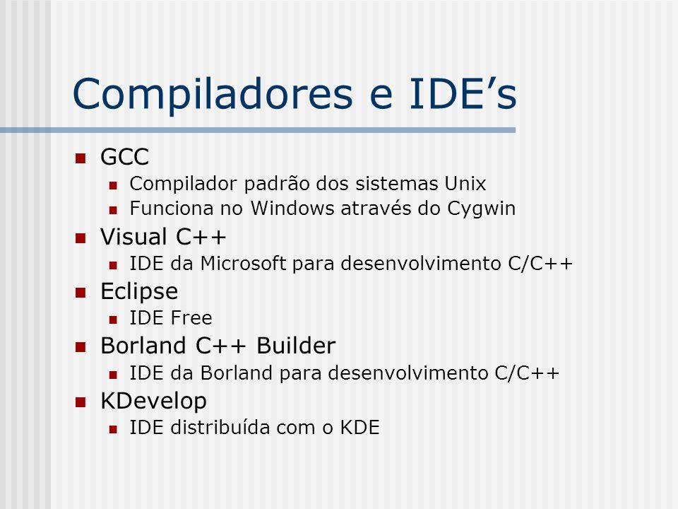 Compiladores e IDEs GCC Compilador padrão dos sistemas Unix Funciona no Windows através do Cygwin Visual C++ IDE da Microsoft para desenvolvimento C/C