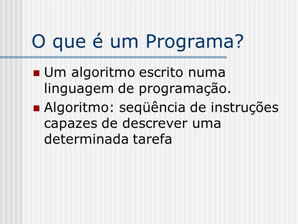 O que é um Programa? Um algoritmo escrito numa linguagem de programação. Algoritmo: seqüência de instruções capazes de descrever uma determinada taref