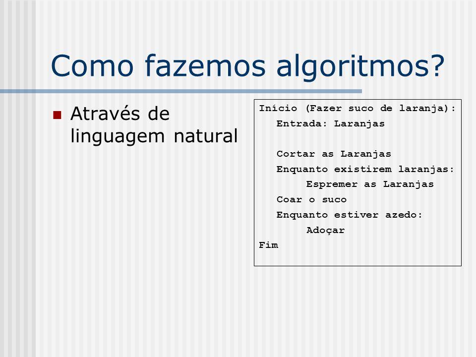 Como fazemos algoritmos? Através de linguagem natural Início (Fazer suco de laranja): Entrada: Laranjas Cortar as Laranjas Enquanto existirem laranjas