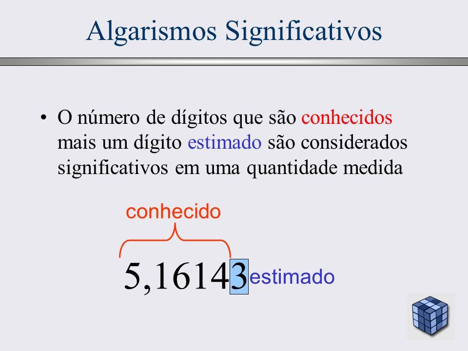 11 Algarismos Significativos O número de dígitos que são conhecidos mais um dígito estimado são considerados significativos em uma quantidade medida e