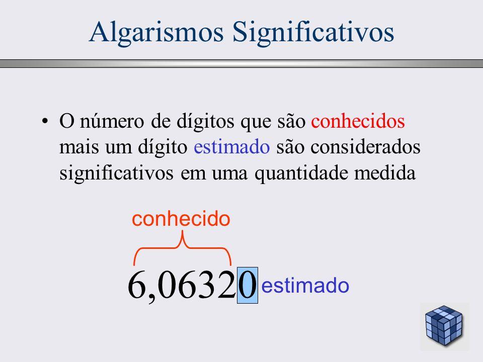 12 Algarismos Significativos estimado 6,06320 conhecido O número de dígitos que são conhecidos mais um dígito estimado são considerados significativos