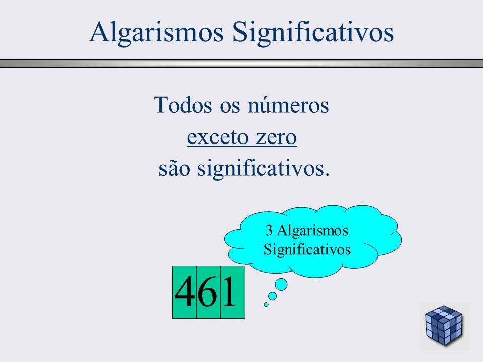 14 Todos os números exceto zero são significativos. 461 3 Algarismos Significativos Algarismos Significativos