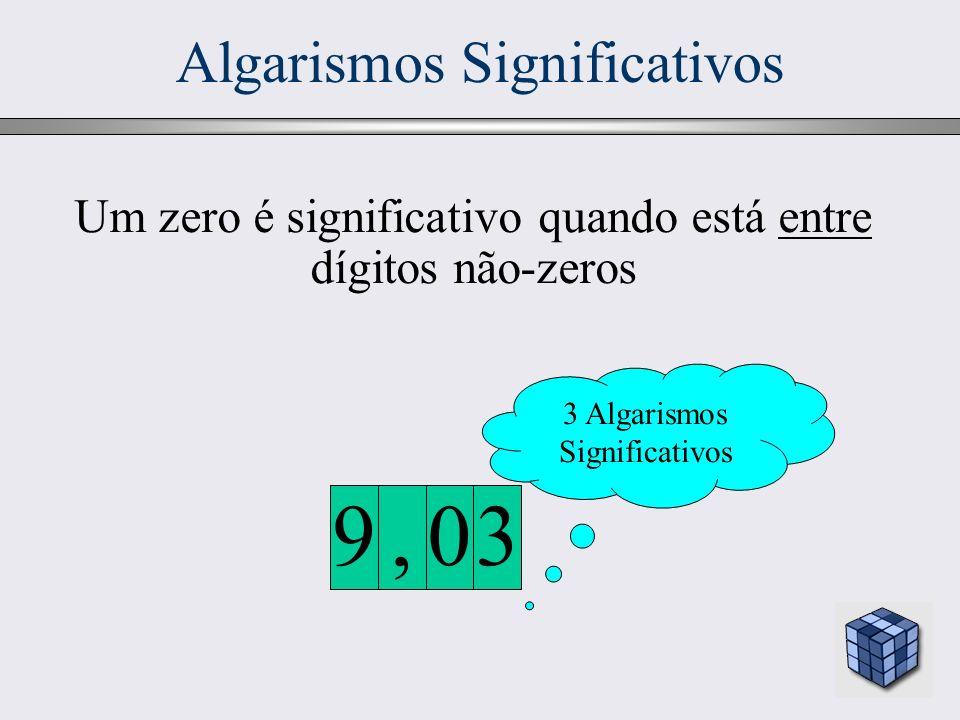 17 Algarismos Significativos 3 Algarismos Significativos 30,9 Um zero é significativo quando está entre dígitos não-zeros