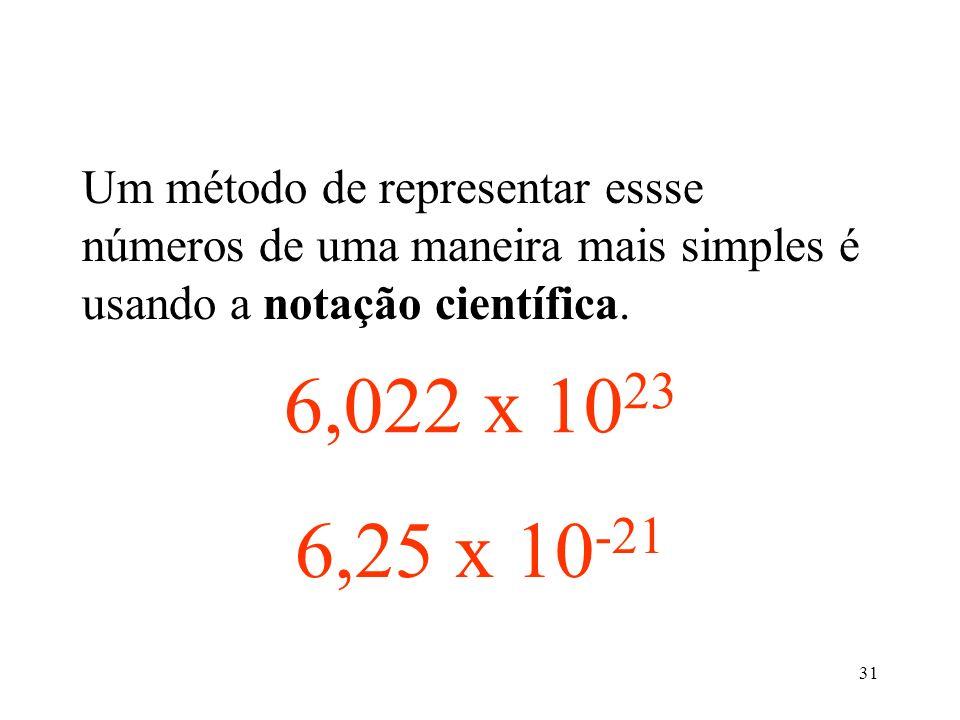 31 602200000000000000000000 Um método de representar essse números de uma maneira mais simples é usando a notação científica. 0,0000000000000000000062