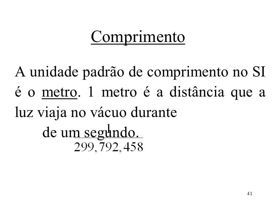 41 Comprimento A unidade padrão de comprimento no SI é o metro. 1 metro é a distância que a luz viaja no vácuo durante de um segundo.