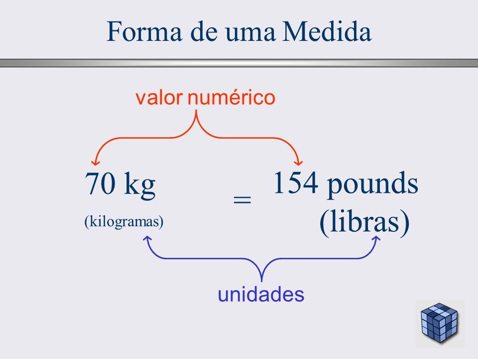 6 Forma de uma Medida 70 kg (kilogramas) = 154 pounds (libras) valor numérico unidades