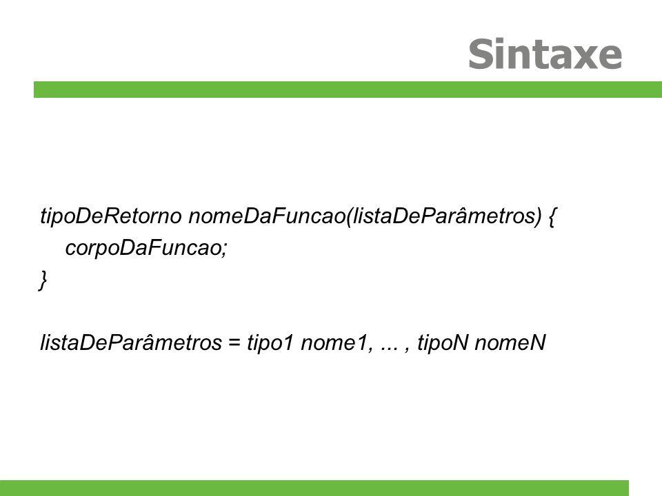 Sintaxe tipoDeRetorno nomeDaFuncao(listaDeParâmetros) { corpoDaFuncao; } listaDeParâmetros = tipo1 nome1,..., tipoN nomeN