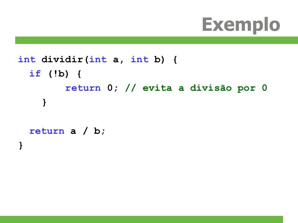 Exemplo int dividir(int a, int b) { if (!b) { return 0; // evita a divisão por 0 } return a / b; }