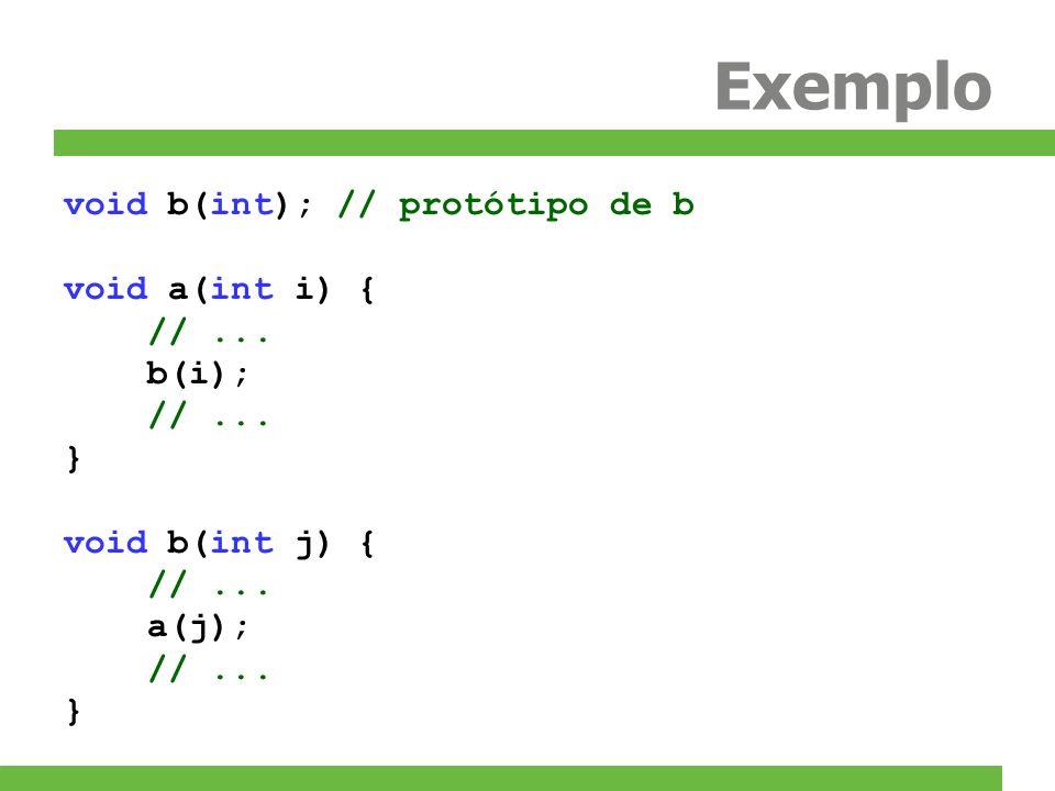 Exemplo void b(int); // protótipo de b void a(int i) { //... b(i); //... } void b(int j) { //... a(j); //... }