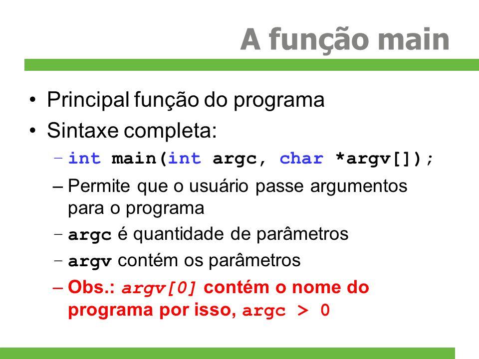 A função main Principal função do programa Sintaxe completa: –int main(int argc, char *argv[]); –Permite que o usuário passe argumentos para o program