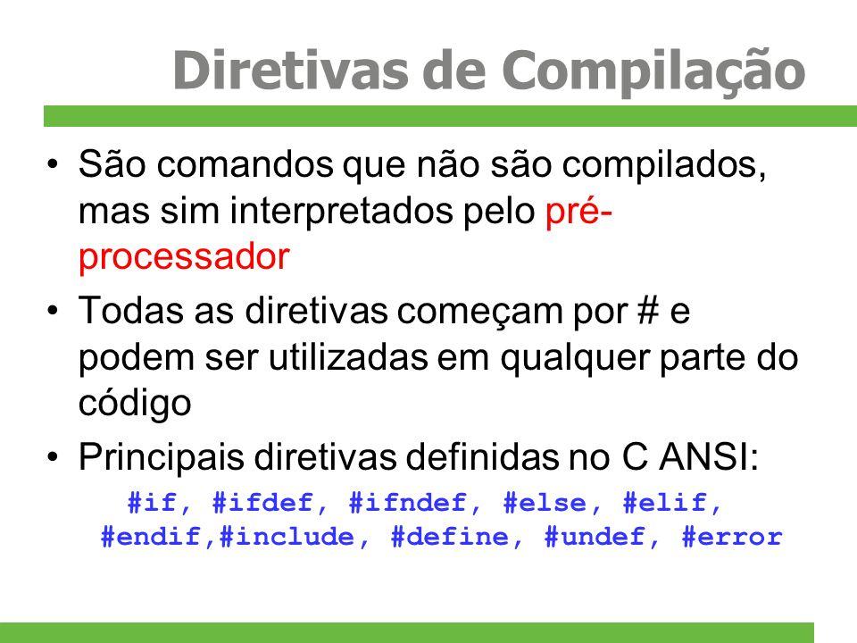 Diretivas de Compilação São comandos que não são compilados, mas sim interpretados pelo pré- processador Todas as diretivas começam por # e podem ser