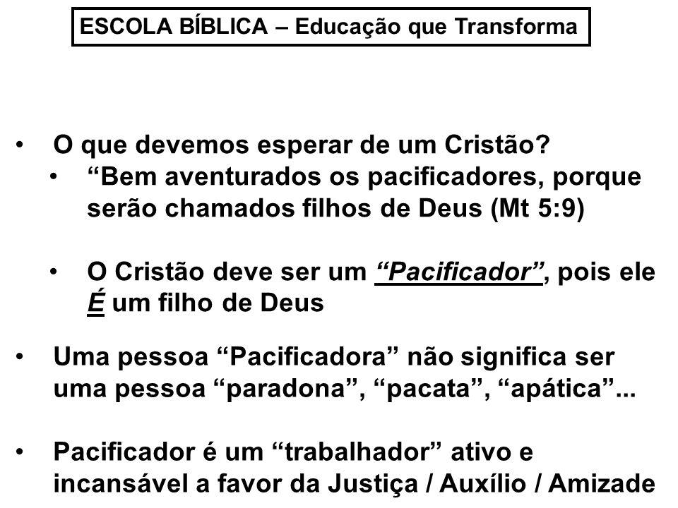 ESCOLA BÍBLICA – Educação que Transforma Pacificador é uma pessoa que influencia pacificamente o seu em torno...