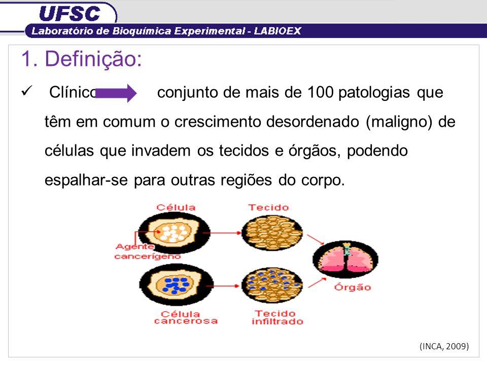 1.Definição: Clínico conjunto de mais de 100 patologias que têm em comum o crescimento desordenado (maligno) de células que invadem os tecidos e órgão