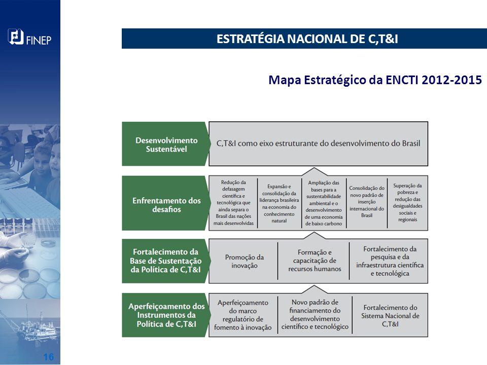 ESTRATÉGIA NACIONAL DE C,T&I Mapa Estratégico da ENCTI 2012-2015 16