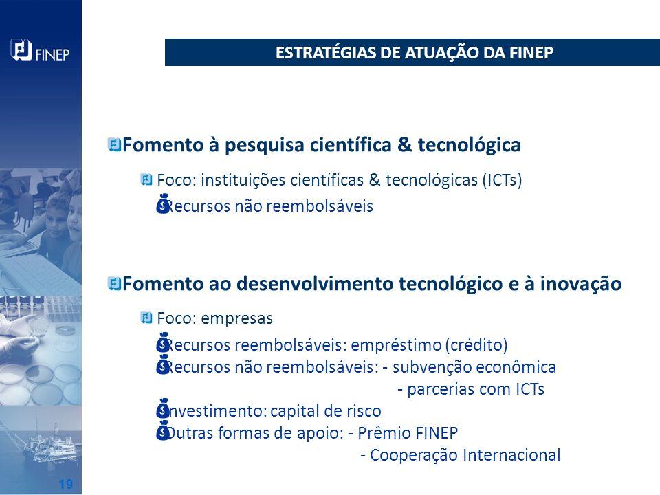 Fomento à pesquisa científica & tecnológica Foco: instituições científicas & tecnológicas (ICTs) Fomento ao desenvolvimento tecnológico e à inovação F