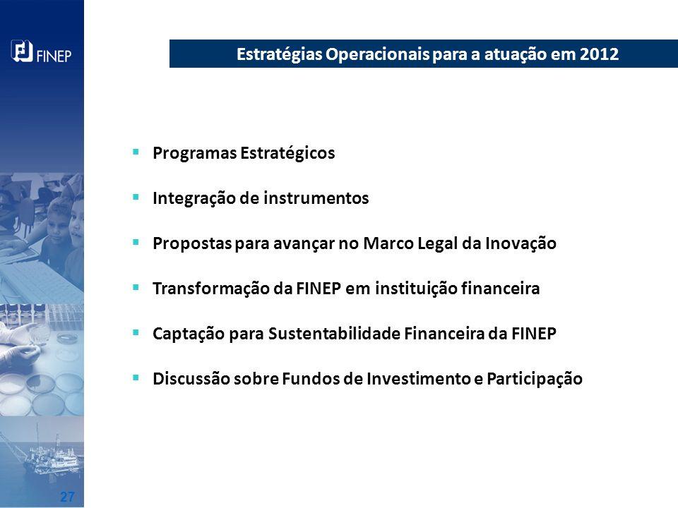 Programas Estratégicos Integração de instrumentos Propostas para avançar no Marco Legal da Inovação Transformação da FINEP em instituição financeira C