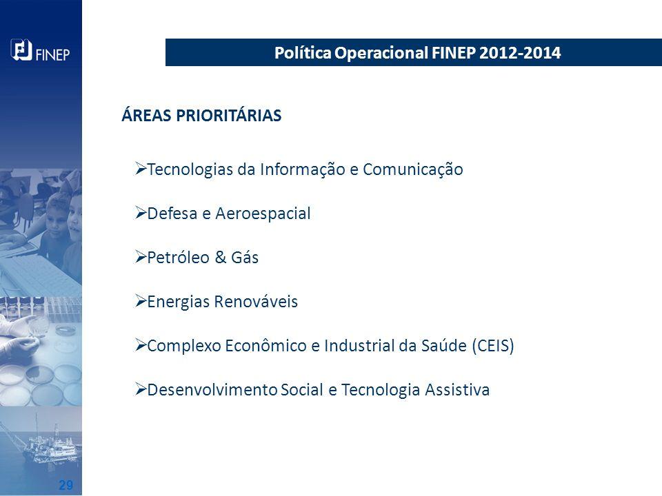 Tecnologias da Informação e Comunicação Defesa e Aeroespacial Petróleo & Gás Energias Renováveis Complexo Econômico e Industrial da Saúde (CEIS) Desen