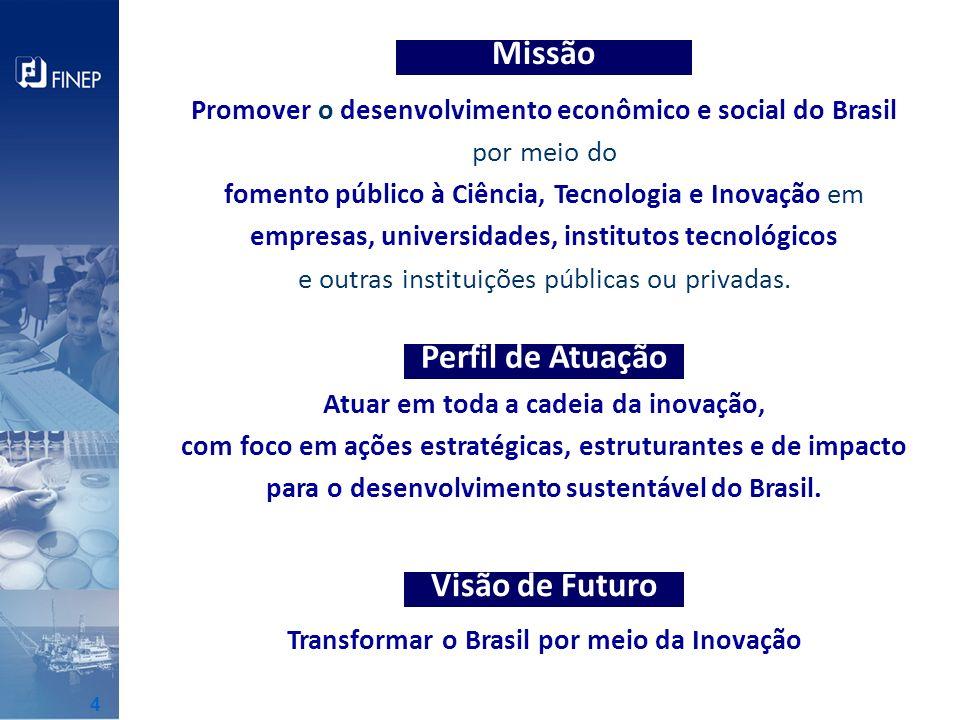 Missão Promover o desenvolvimento econômico e social do Brasil por meio do fomento público à Ciência, Tecnologia e Inovação em empresas, universidades