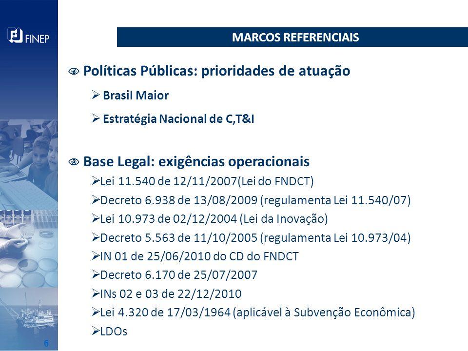 Políticas Públicas: prioridades de atuação Brasil Maior Estratégia Nacional de C,T&I Base Legal: exigências operacionais Lei 11.540 de 12/11/2007(Lei
