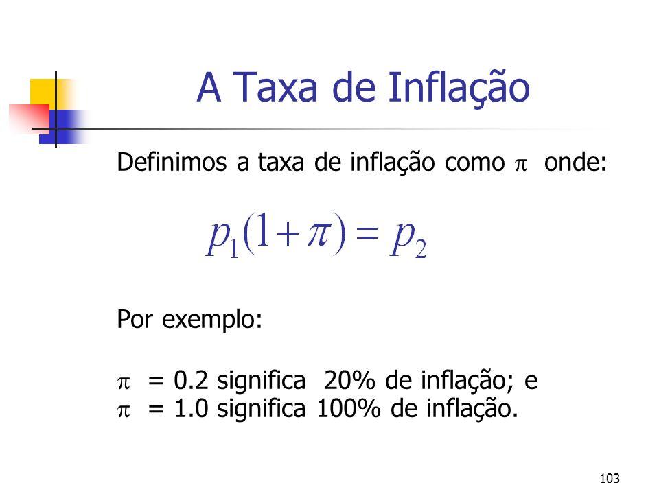 103 A Taxa de Inflação Definimos a taxa de inflação como onde: Por exemplo: = 0.2 significa 20% de inflação; e = 1.0 significa 100% de inflação.