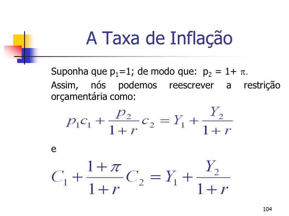 104 A Taxa de Inflação Suponha que p 1 =1; de modo que: p 2 = 1+ Assim, nós podemos reescrever a restrição orçamentária como: e