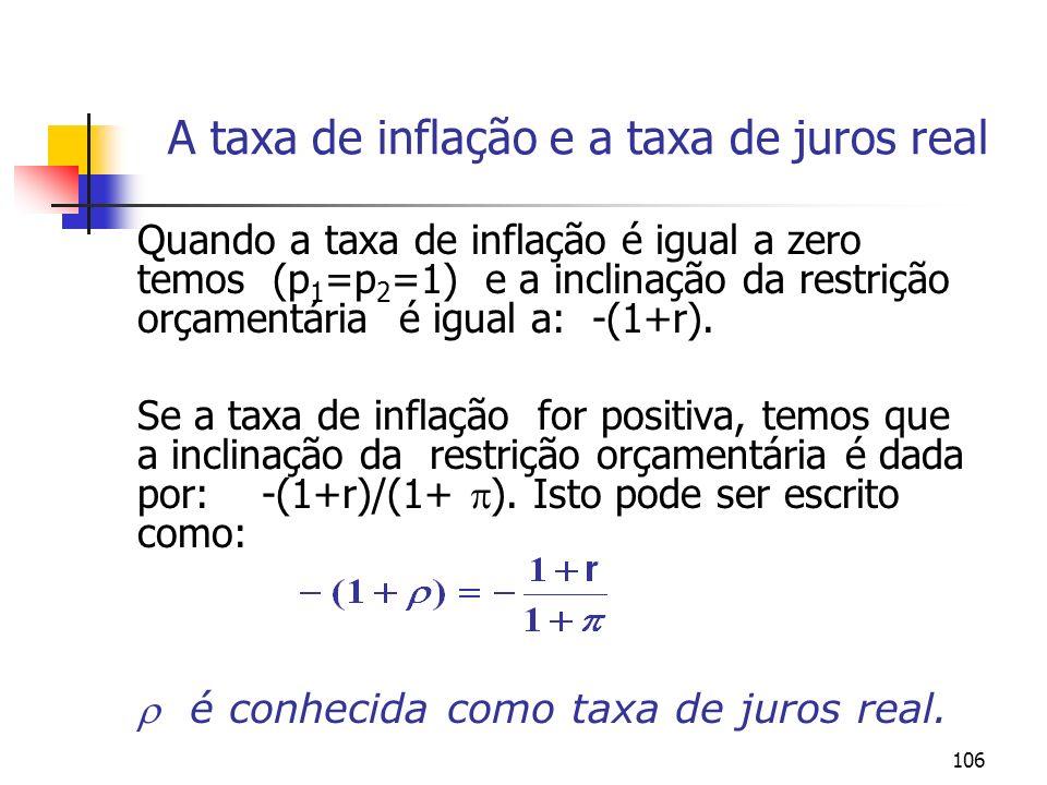 106 A taxa de inflação e a taxa de juros real Quando a taxa de inflação é igual a zero temos (p 1 =p 2 =1) e a inclinação da restrição orçamentária é