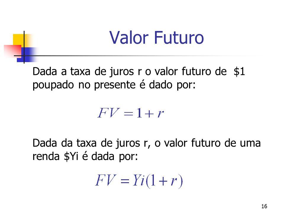 16 Valor Futuro Dada a taxa de juros r o valor futuro de $1 poupado no presente é dado por: Dada da taxa de juros r, o valor futuro de uma renda $Yi é