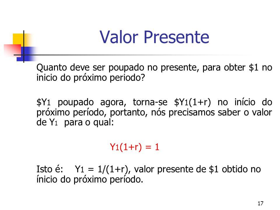 17 Valor Presente Quanto deve ser poupado no presente, para obter $1 no inicio do próximo periodo? $Y 1 poupado agora, torna-se $Y 1 (1+r) no início d