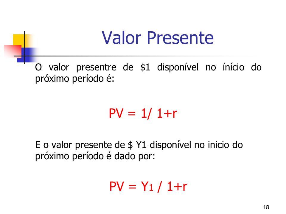 18 Valor Presente O valor presentre de $1 disponível no ínício do próximo período é: PV = 1/ 1+r E o valor presente de $ Y1 disponível no inicio do pr