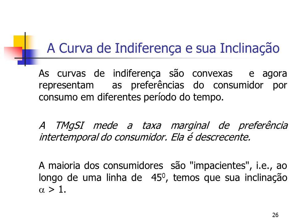 26 A Curva de Indiferença e sua Inclinação As curvas de indiferença são convexas e agora representam as preferências do consumidor por consumo em dife
