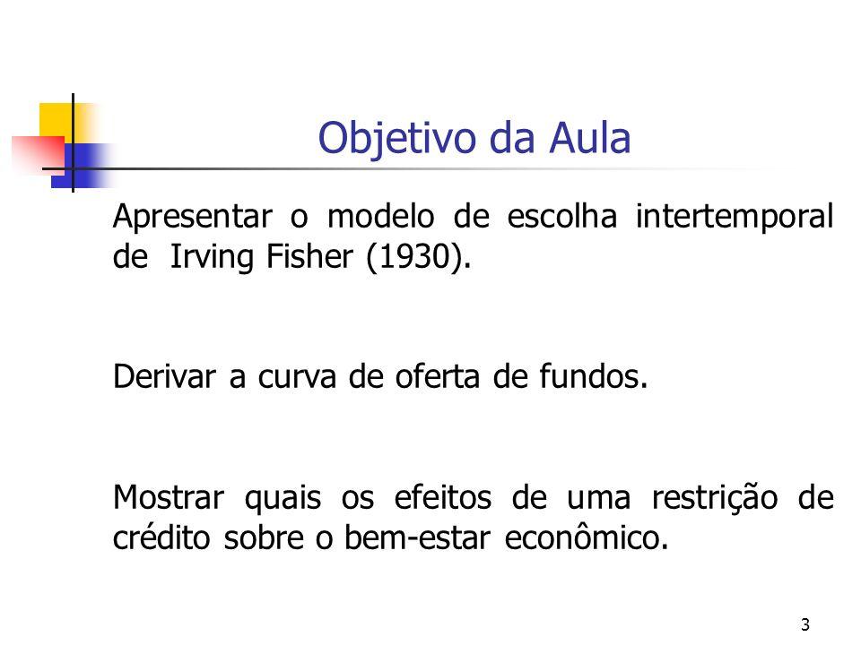 3 Objetivo da Aula Apresentar o modelo de escolha intertemporal de Irving Fisher (1930). Derivar a curva de oferta de fundos. Mostrar quais os efeitos