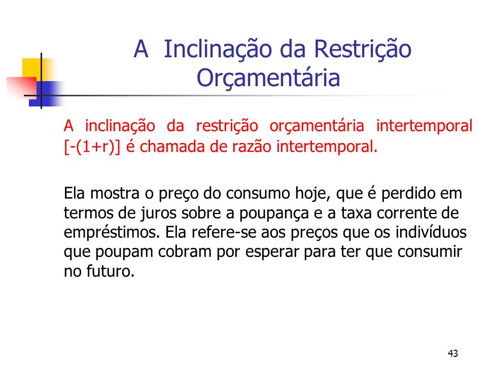 43 A Inclinação da Restrição Orçamentária A inclinação da restrição orçamentária intertemporal [-(1+r)] é chamada de razão intertemporal. Ela mostra o
