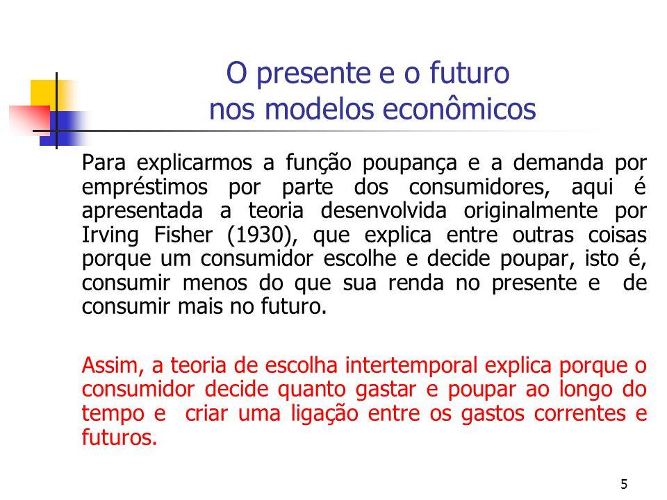5 O presente e o futuro nos modelos econômicos Para explicarmos a função poupança e a demanda por empréstimos por parte dos consumidores, aqui é apres