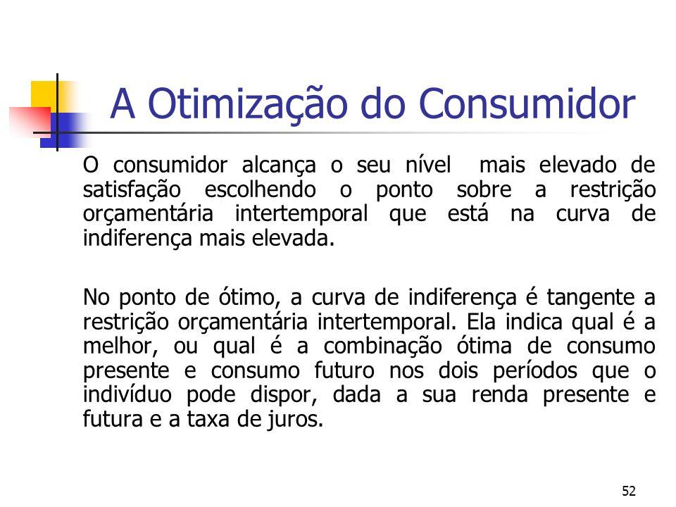 52 A Otimização do Consumidor O consumidor alcança o seu nível mais elevado de satisfação escolhendo o ponto sobre a restrição orçamentária intertempo