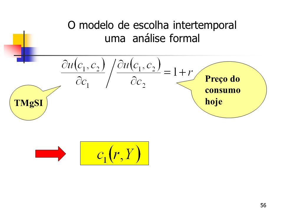 56 TMgSI Preço do consumo hoje O modelo de escolha intertemporal uma análise formal