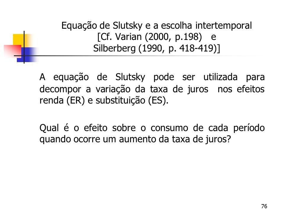 76 Equação de Slutsky e a escolha intertemporal [Cf. Varian (2000, p.198) e Silberberg (1990, p. 418-419)] A equação de Slutsky pode ser utilizada par