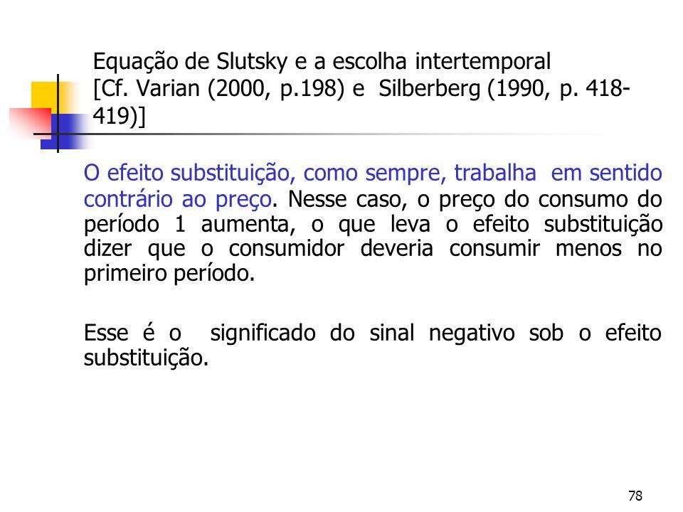 78 Equação de Slutsky e a escolha intertemporal [Cf. Varian (2000, p.198) e Silberberg (1990, p. 418- 419)] O efeito substituição, como sempre, trabal
