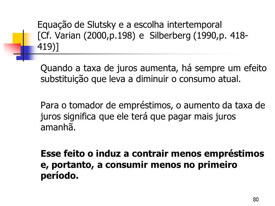 80 Equação de Slutsky e a escolha intertemporal [Cf. Varian (2000,p.198) e Silberberg (1990,p. 418- 419)] Quando a taxa de juros aumenta, há sempre um