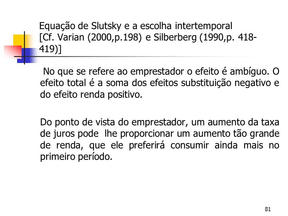 81 Equação de Slutsky e a escolha intertemporal [Cf. Varian (2000,p.198) e Silberberg (1990,p. 418- 419)] No que se refere ao emprestador o efeito é a