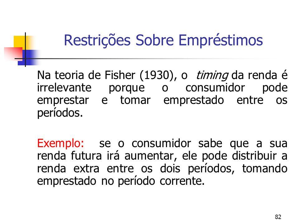 82 Restrições Sobre Empréstimos Na teoria de Fisher (1930), o timing da renda é irrelevante porque o consumidor pode emprestar e tomar emprestado entr