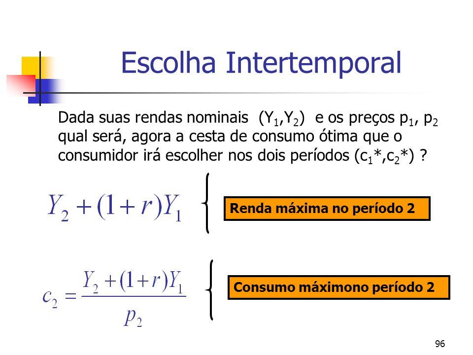 96 Escolha Intertemporal Dada suas rendas nominais (Y 1,Y 2 ) e os preços p 1, p 2 qual será, agora a cesta de consumo ótima que o consumidor irá esco