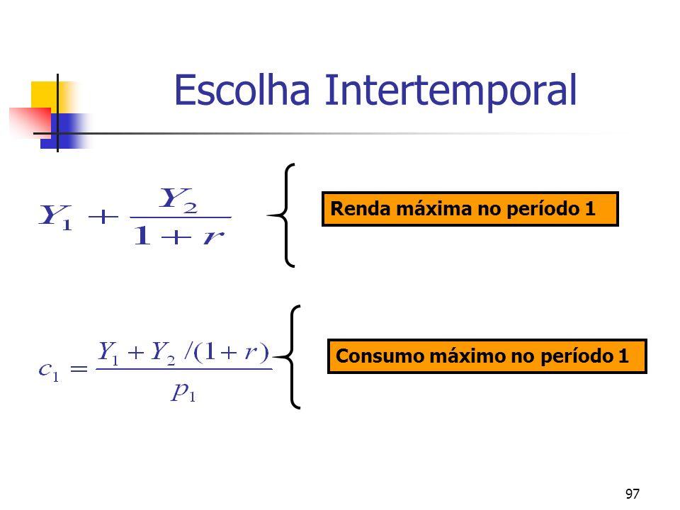 97 Escolha Intertemporal Renda máxima no período 1 Consumo máximo no período 1
