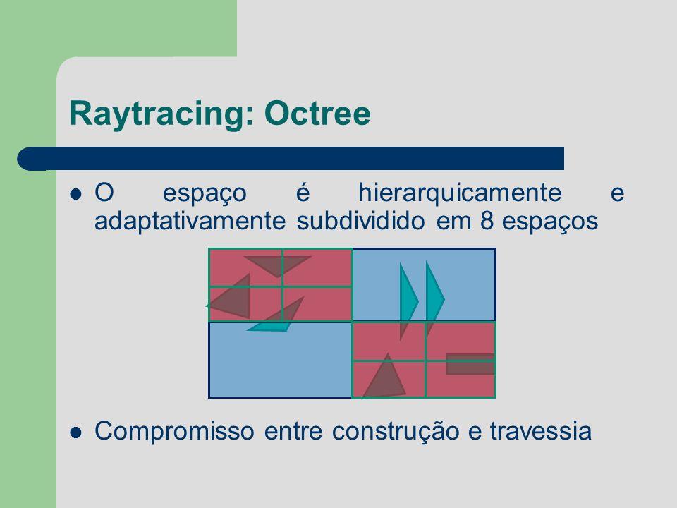 Raytracing: Octree O espaço é hierarquicamente e adaptativamente subdividido em 8 espaços Compromisso entre construção e travessia