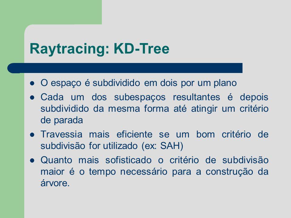 Raytracing: KD-Tree O espaço é subdividido em dois por um plano Cada um dos subespaços resultantes é depois subdividido da mesma forma até atingir um