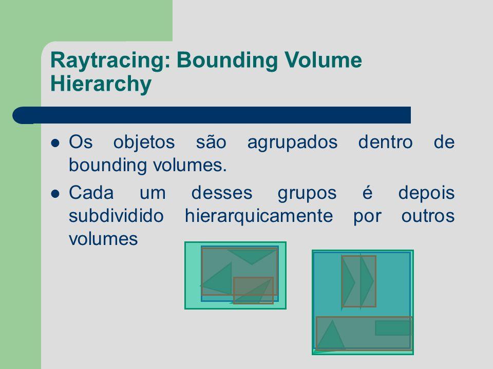 Raytracing: Bounding Volume Hierarchy Os objetos são agrupados dentro de bounding volumes. Cada um desses grupos é depois subdividido hierarquicamente